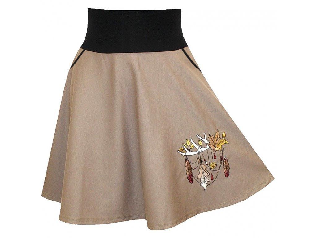 Hnědá půlkolová sukně, kapsy, podzimní lapač snů
