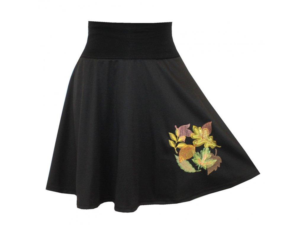 Černá půlkolová sukně, kapsy, barevné listí