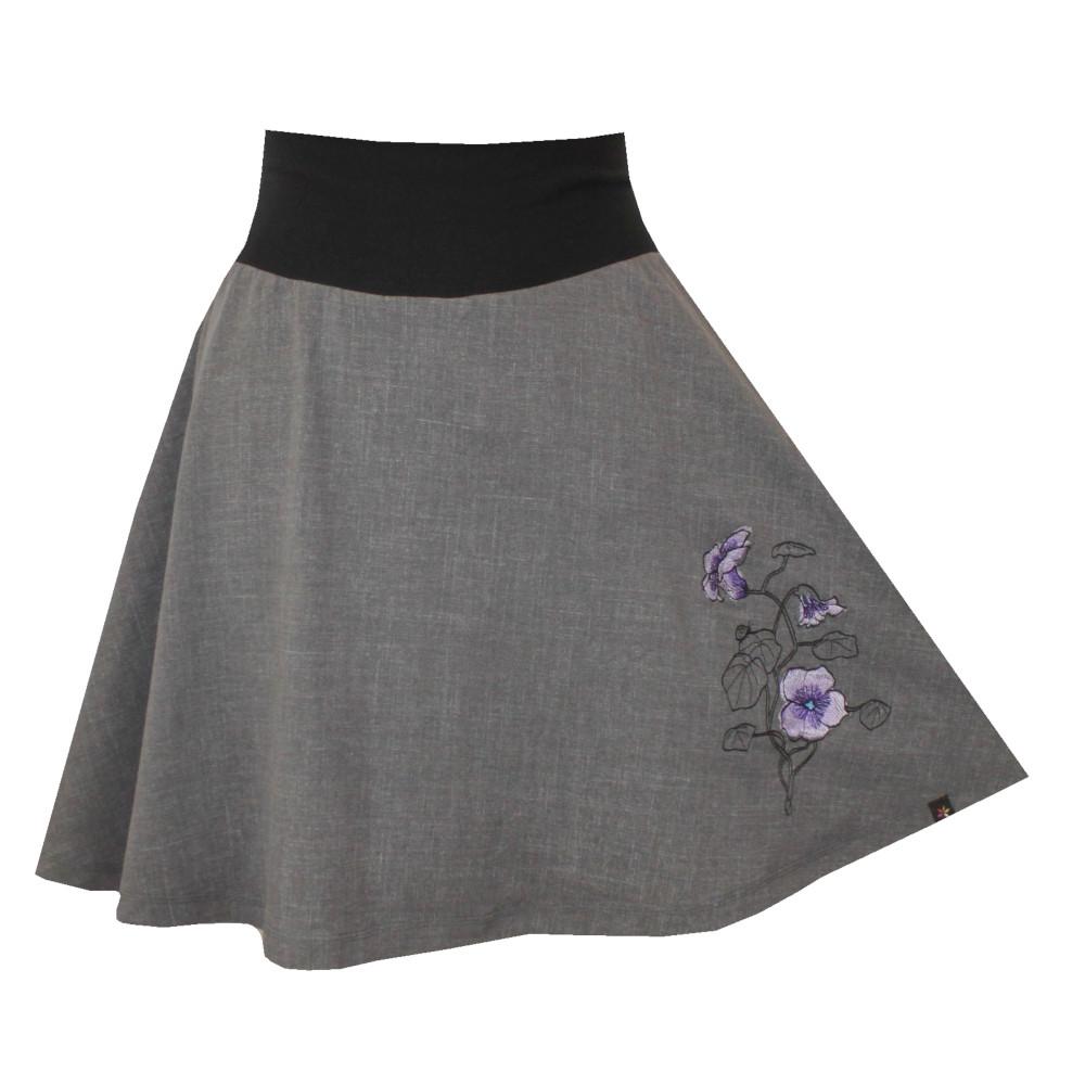Šedá půlkolová sukně, vzhled džínoviny, fialky