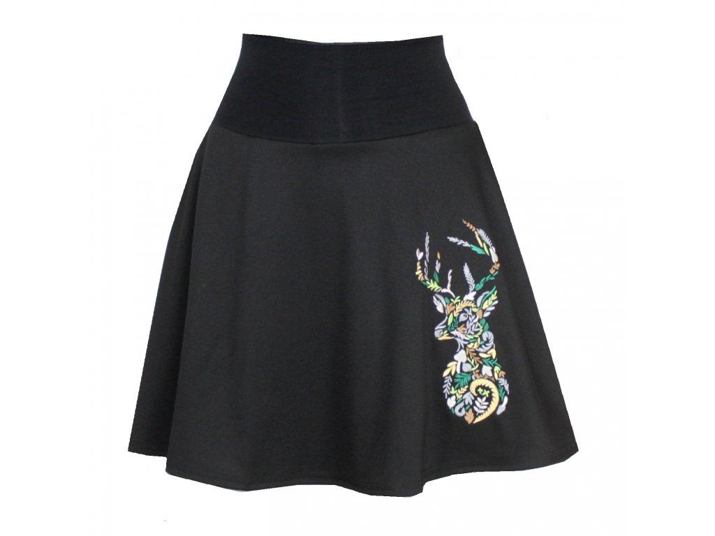 Černá půlkolová sukně, kapsy, jelínek
