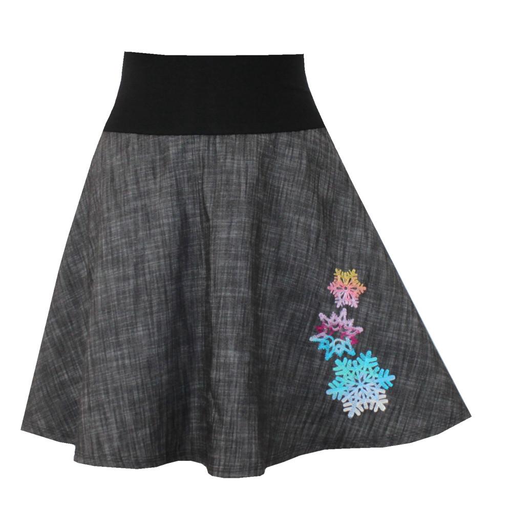 Džínová půlkolová sukně, duhové vločky