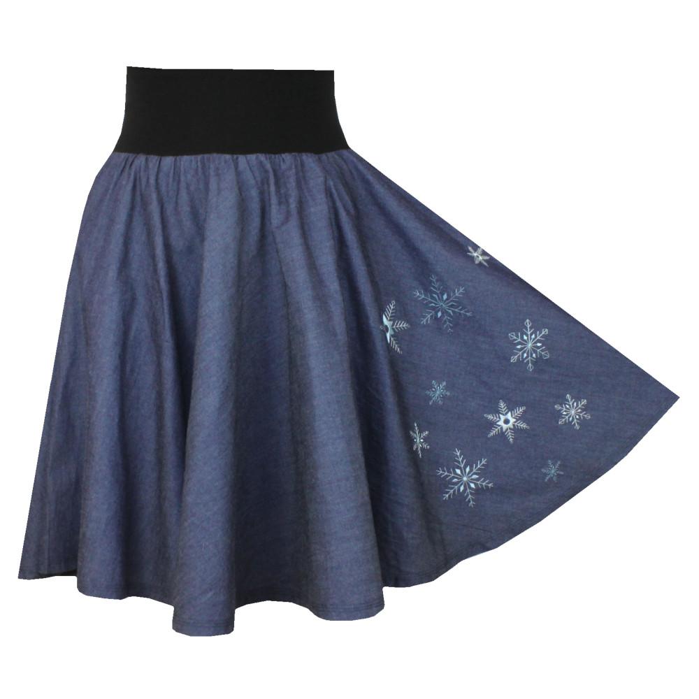 Džínová kolová sukně se spodničkou, vločky