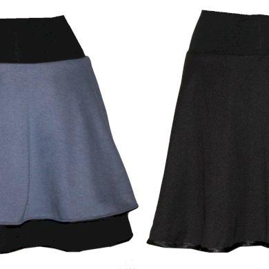 Oboustranná dámská sukně - šedo modrá/ černá