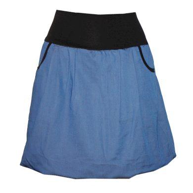 Džínová balonová sukně s kapsami, letní