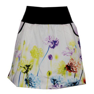Balonová bílá sukně s barevnými květy
