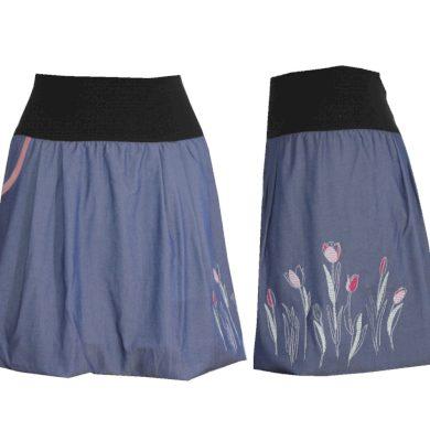 Balonová jemná džínová sukně, kapsa, tulipány