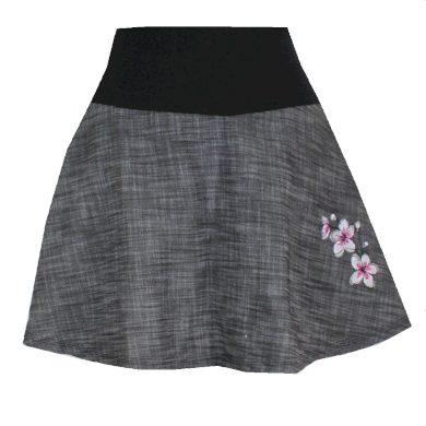 Dámská džínová krátká sukně, výšivka květinek