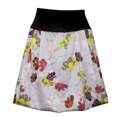 Saténová balonová sukně, barevné květinky