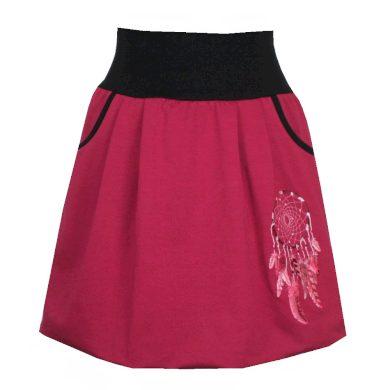 Vínová bavlněná balonová sukně, lapač, kapsy