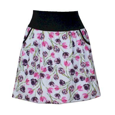 Balonová sukně, tulipány, kapsy