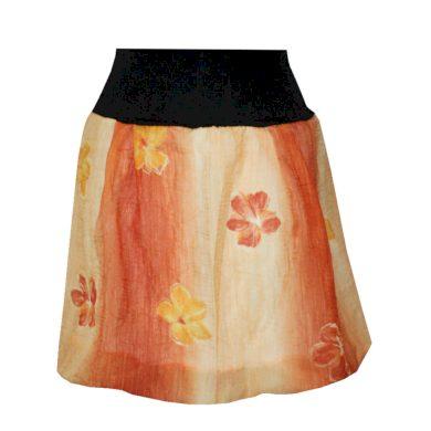 Balonová letní sukně, oranžová s květy