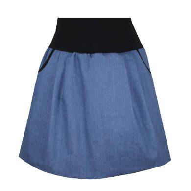Světle modrá balonová džínová sukně, kapsy