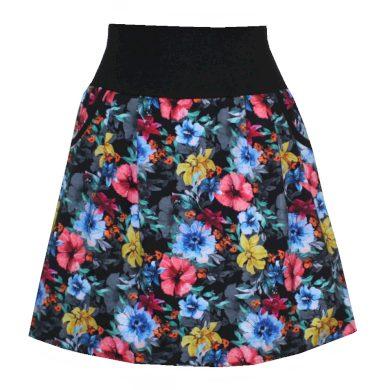 Balonová sukně, barevné květy, kapsy