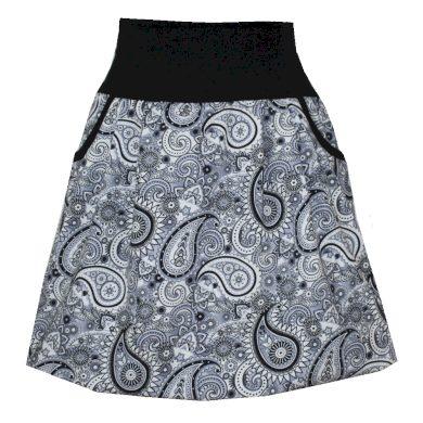 Balonová sukně, kapsy, bílo šedo černá
