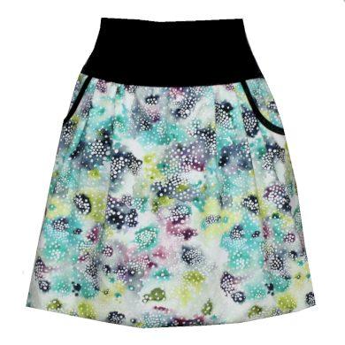 Letní balonová sukně, kapsy, modro zeleno bílá