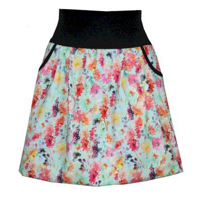 Letní balonová sukně, kapsy, kvítky, mint