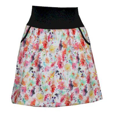 Letní balonová sukně, kapsy, kvítky