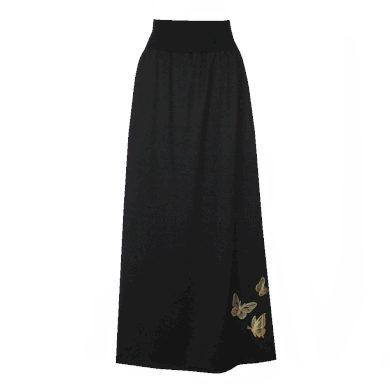 Černá dlouhá sukně se spodničkou, motýlci