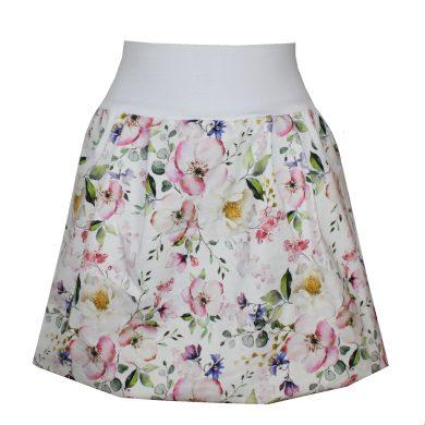 Balonová sukně, kapsy, bílý pas, luční kvítí