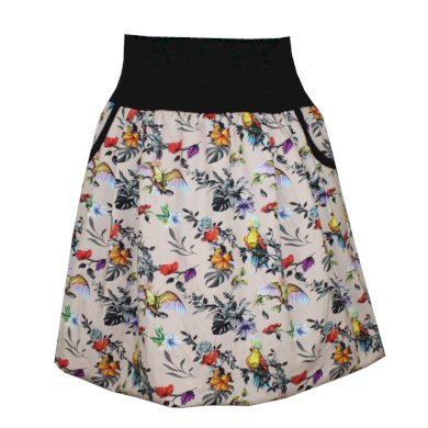 Balonová sukně, béžová s papoušky, kapsy
