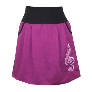Fialová balonová sukně, houslový klíč, kapsy