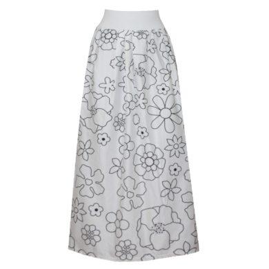 Malovaná letní dlouhá bavlněná sukně, bílý pas