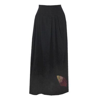 Černá bavlněná dlouhá sukně, sklady, lísteček