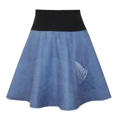 Džínová půlkolová sukně, lísteček