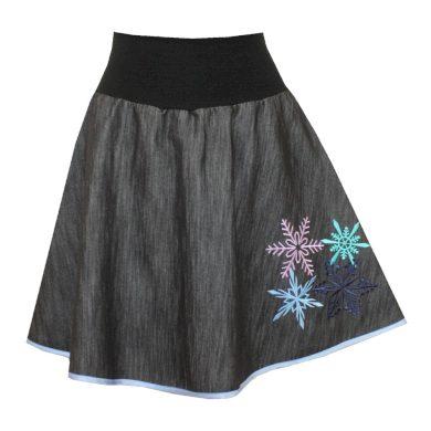 Džínová půlkolová sukně se spodničkou, lem, vločky