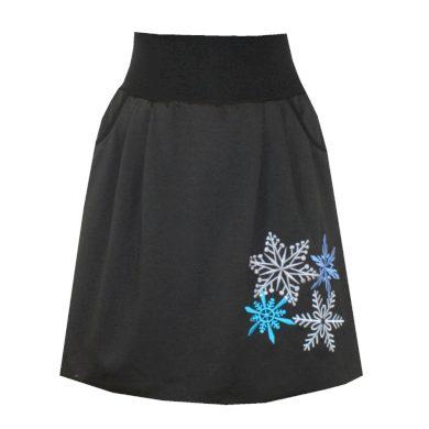 Černá balonová sukně, kapsy, vločky