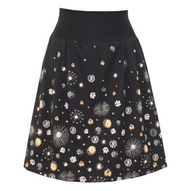 Černá áčková sukně, sklady, květinky