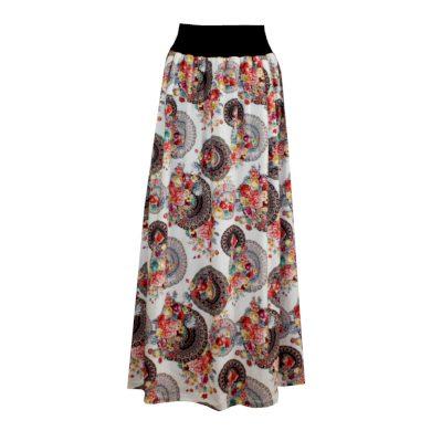 Splývavá dlouhá sukně, sklady, mandaly a květy