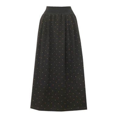 Černá dlouhá bavlněná sukně, drobné puntíky
