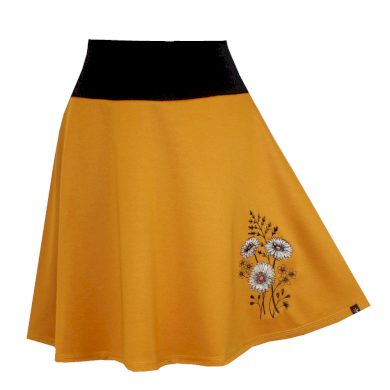 Hořčicově žlutá půlkolová sukně, astry