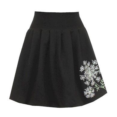 Bohatě balonová černá sukně, skládaná, květina