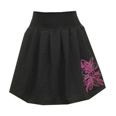 Bohatě balonová černá sukně, skládaná, lilie