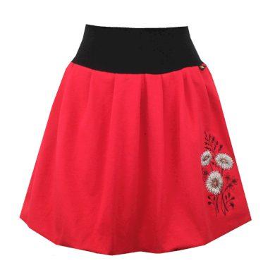 Bohatě balonová červená sukně, skládaná, astry