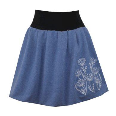 Bohatě balonová džínově modrá sukně, skládaná, rostliny