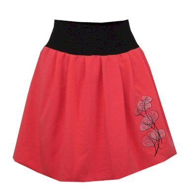 Bohatě balonová korálová  sukně, skládaná, listy