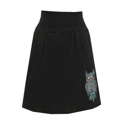 Černá bavlněná áčková sukně, sklady, kapsy, sovička