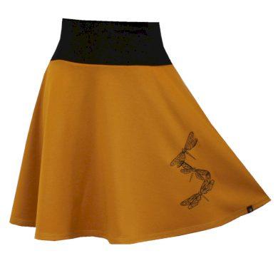 Hořčicová půlkolová sukně, vážky