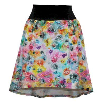 Áčková sukně, sklady, delší zadní díl, barevné puntíky