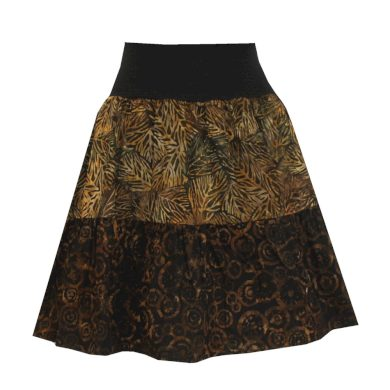 Volánová sukně, hnědo černá