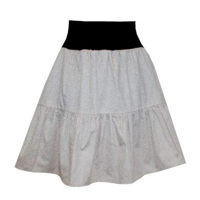 Volánová sukně, smetanová vzorovaná