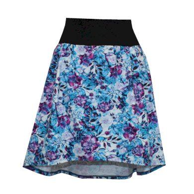 Áčková sukně, sklady, delší zadní díl, modro růžové květy