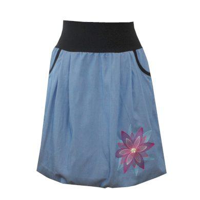 Světle modrá džínová sukně, kapsy, mandala