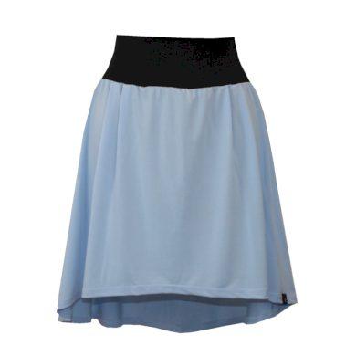Světle modrá jemná áčková sukně, sklady, delší zadní díl
