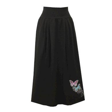 Černá bavlněná dlouhá sukně, sklady, motýlci
