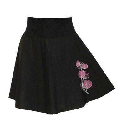 Černá jemná půlkolová sukně, listy