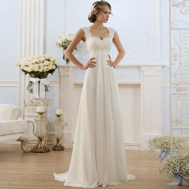 Elegantní jednoduché svatební šaty pro těhotné
